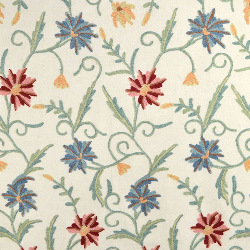 Crewel fabric curtains