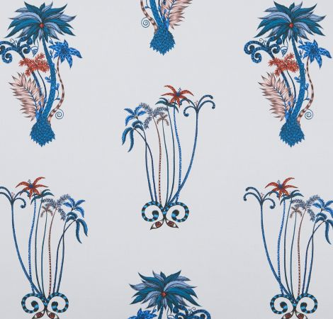 Jungle Palms - Blue fabric