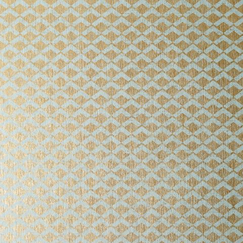 Cashiers Aqua Metallic Gold Wallpaper Small Scale Anna French