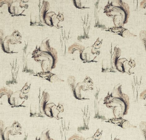 Squirrels - Linen fabric