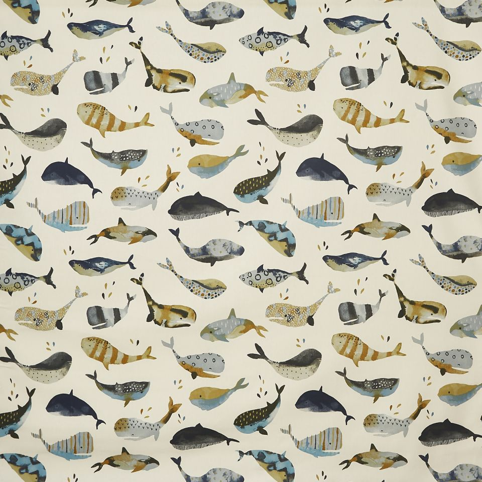 Whale watching antique fabric beachcomber for Whale fabric