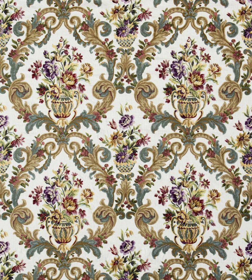 Rococo Embroidery Fig Teal Fabric Bohemian Romance