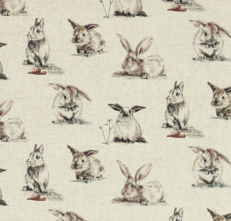 Rabbits - Linen fabric