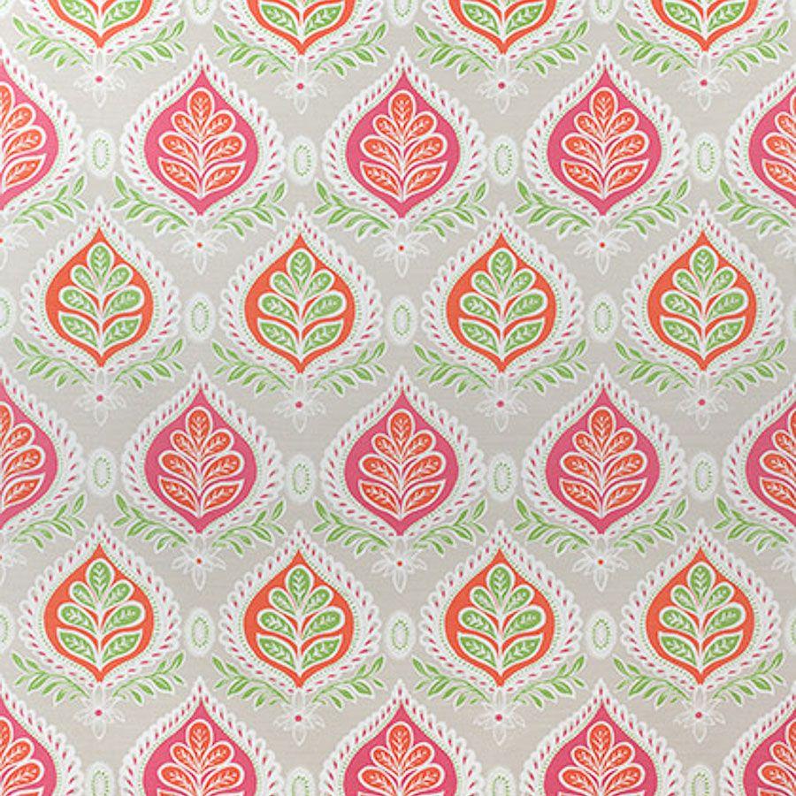 Midland Pink Coral Fabric Bridgehampton Thibaut