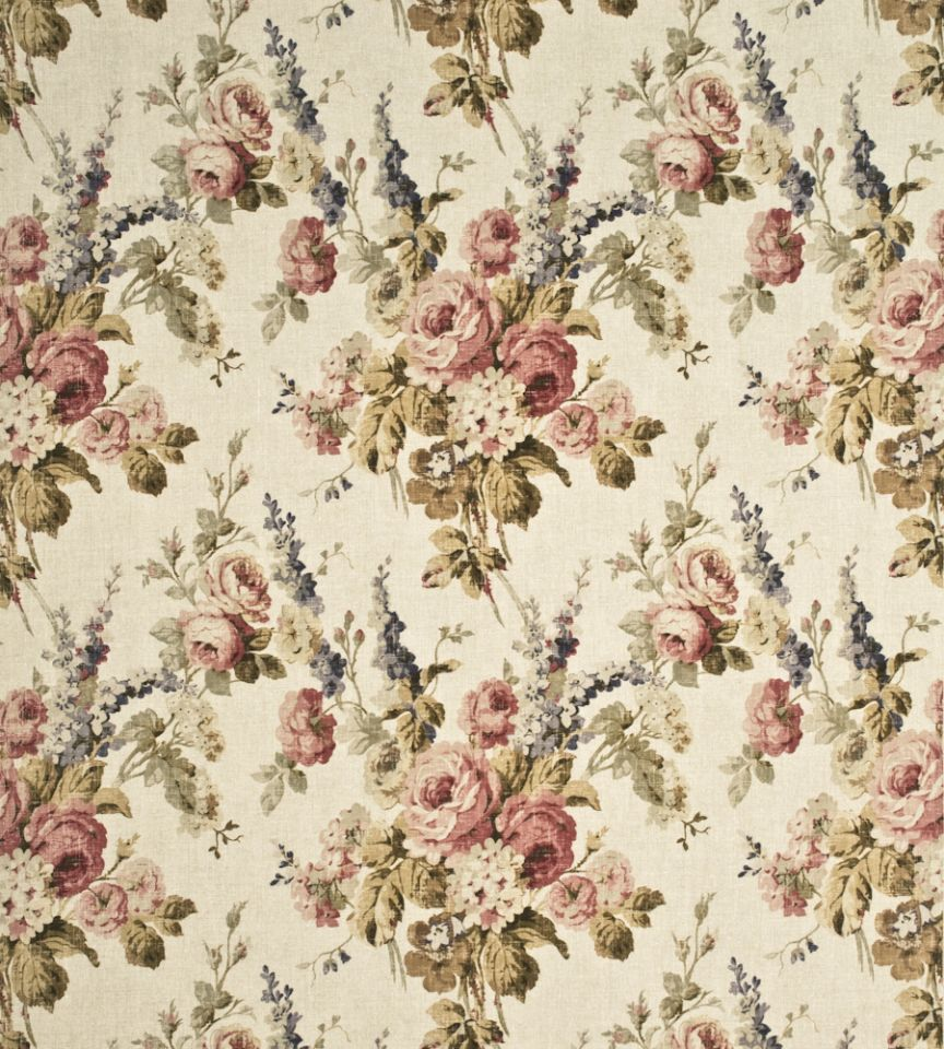 Vintage Floral Antique Rose Fabric Country Weekend