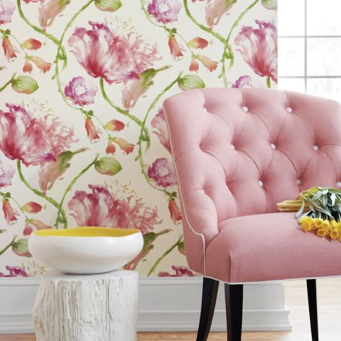 Tuileries - Pink wallpaper | Zola Wallpaper | Anna French