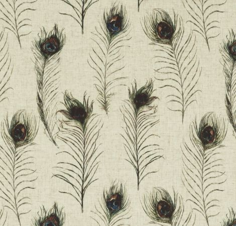 Peacock Feathers - Linen fabric