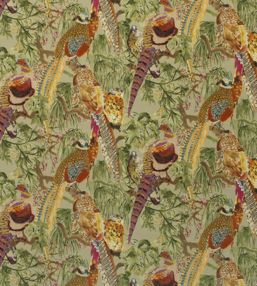 Game birds velvet fig multi fabric bohemian romance for Mullberry home