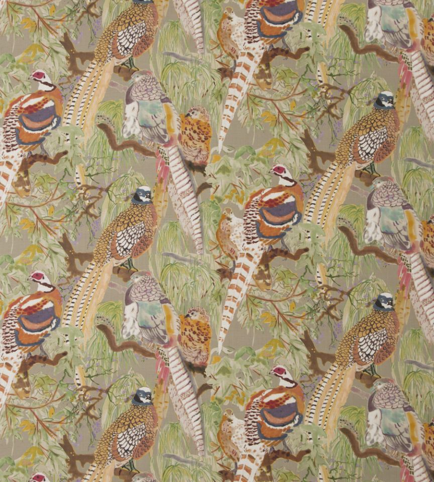 Game birds velvet stone multi fabric bohemian romance for Mullberry home
