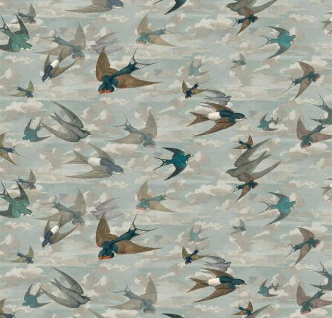 Chimney Swallows - Sky Blue fabric