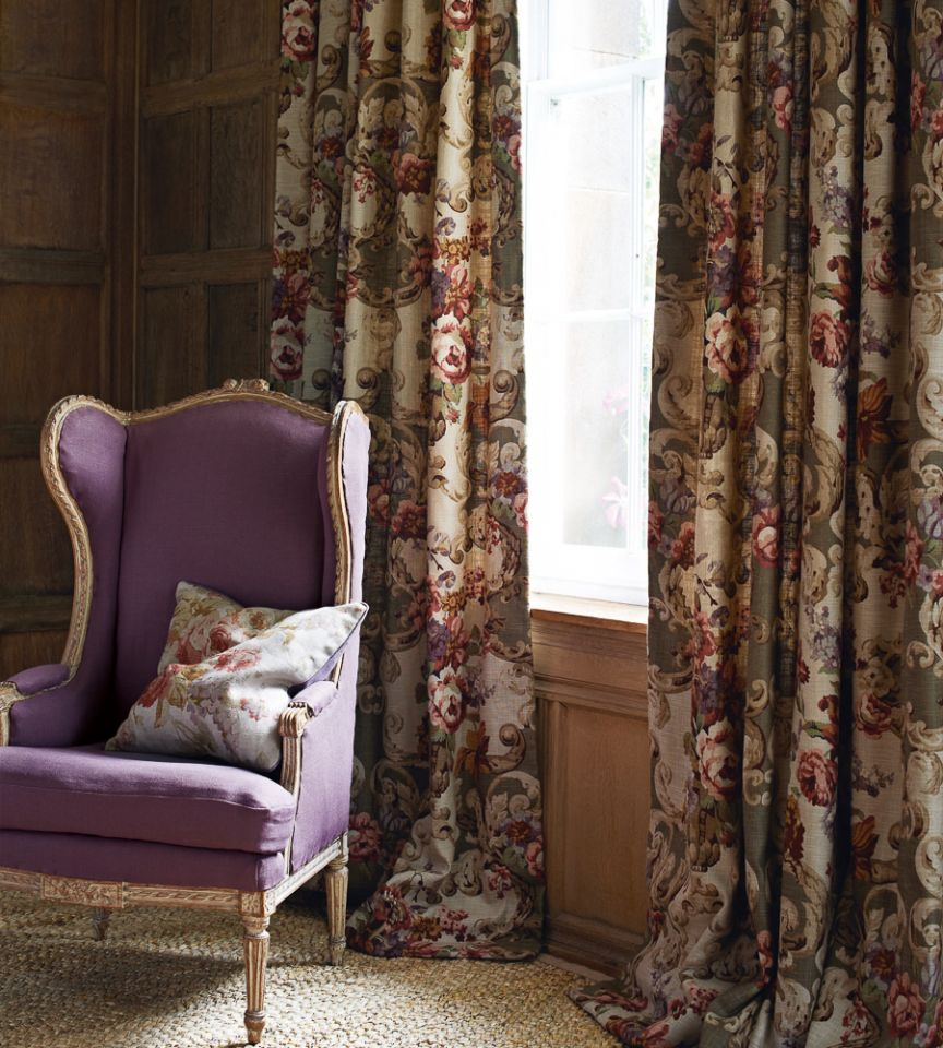 Floral rococo taupe fabric country weekend mulberry home for Mullberry home
