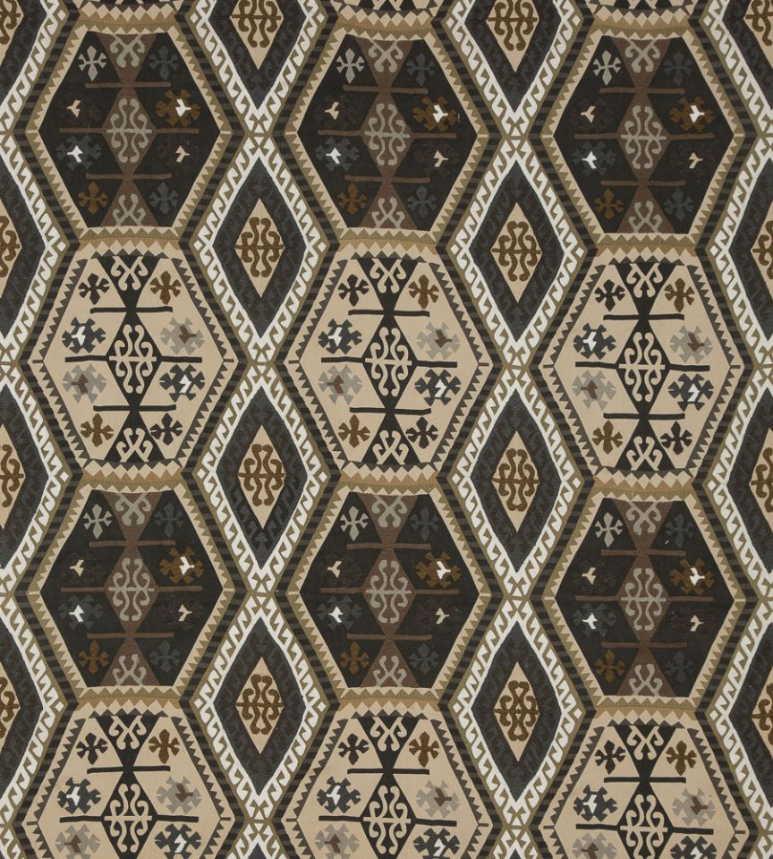Buckland charcoal bronze fabric bohemian travels for Mullberry home