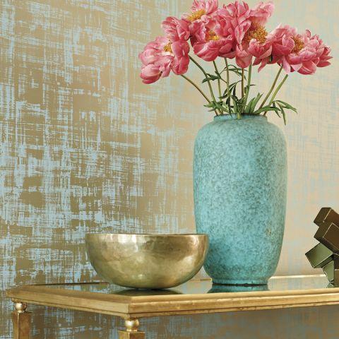 Braxton Texture Metallic On Aqua Wallpaper Seraphina